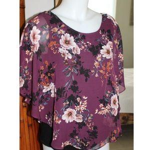 NWT Apt. 9  purple floral blouse